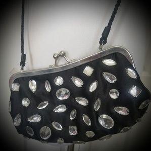 Handbags - Womens Rehinstone black crossbody/clutch purse